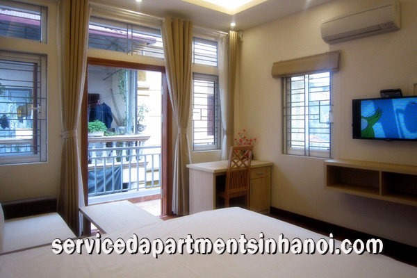Bright rental one bedroom apartment in Van Ho st,  Hai Ba Trung with lovely balcony