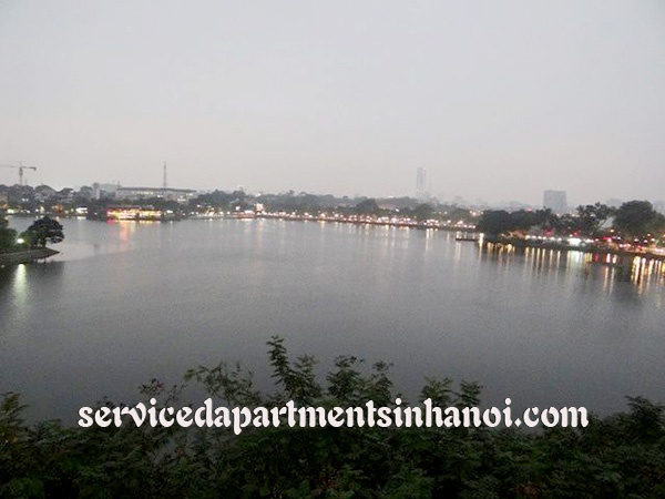 Shiny serviced apartment for rent in Truc Bach, panorama Lakeview, wooden floor