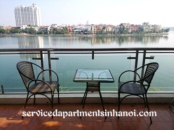 Spacious lake view serviced apartment for rent in Quang An, Tay Ho