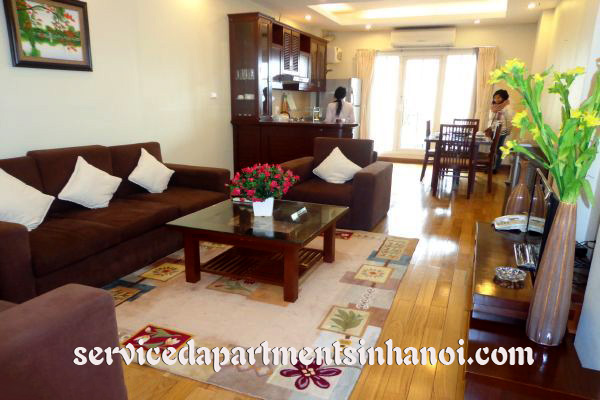 Spacious two bedroom serviced apartment for rent in Hoan Kiem, full services.
